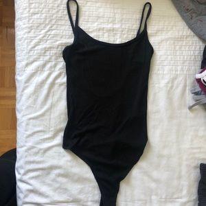 Brandy Melville Open Back Thong Bodysuit Black